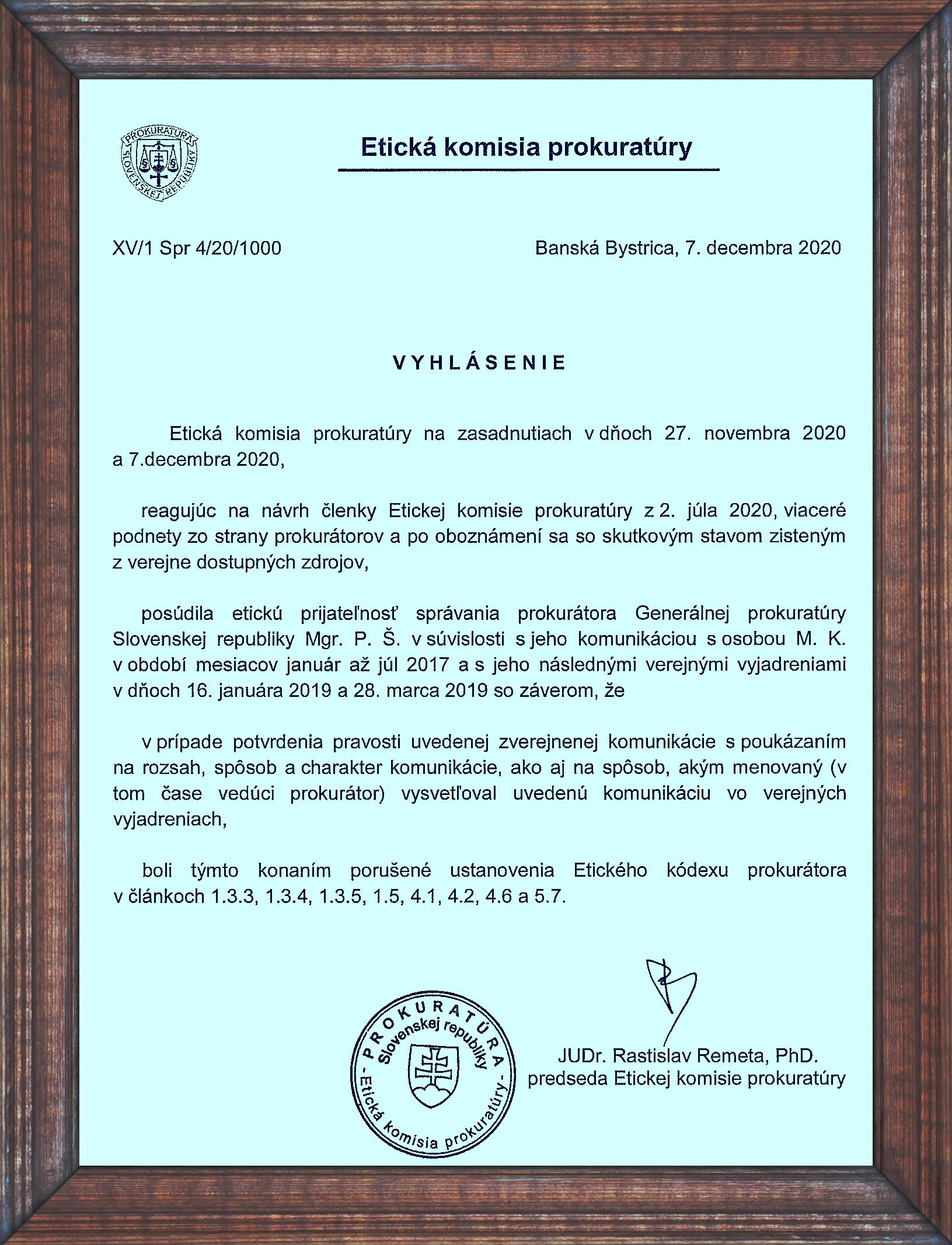 Etická komisia prokuratúry rozhodla o komunikácii Šufliarskeho